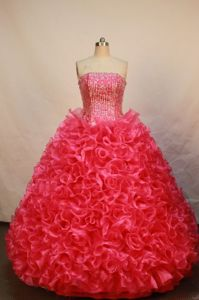 Strapless Red Quinceanera Dress in Abancay Peru with Ruffles and Beading