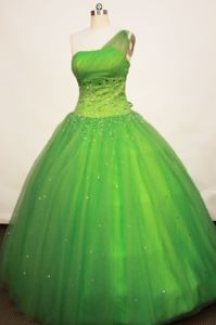 Spring Green One Shoulder Tulle Quinceanera Dress in Florida Colombia