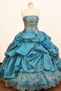 Beading and Pick-ups Strapless Blue Quinceanera Dress in Huaraz Peru