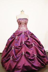 Tarapoto Peru Strapless Purple Pick-ups and Embroidery Quinceanera Dress