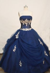 Strapless Navy Blue Appliques Quinceanera Dress in Buenaventura Colombia