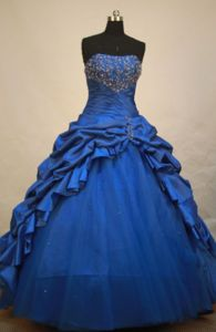 Strapless Blue Pick-ups and Beading Quinceanera Dress in El Banco Colombia