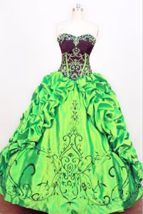Embroidery and Pick-ups Strapless Green Quince Dress in Riosucio Colombia