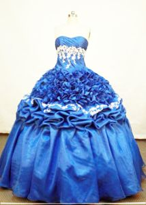 Blue Strapless Pick-ups and Ruffles Quinceanera Dress in Ayapel Colombia