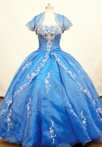 Blue Strapless Appliques and Beading Quinceanera Dress in Ayacucho Peru