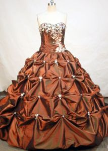 Pick-ups Appliques Strapless Brown Quinceanera Dress in Chincha Alta Peru