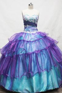 Colorful Sweetheart Appliques Quinceanera Dresses in Caucasia Colombia