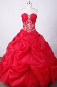 Appliques and Beading Sweetheart Red Quinceanera Dress in Yumbo Colombia