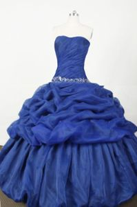 Strapless Blue Embroidery and Pick-ups Quinceanera Dress in Sullana Peru