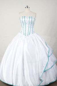 White Strapless Beading and Ruffles Quinceanera Dress in Andes Colombia