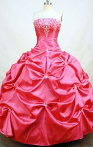 Cute Strapless Red Beading and Pick-ups Quinceanera Dress in Cusco Peru