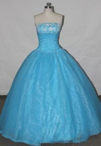 Simple Strapless Appliques Blue Quinceanera Dresses in Orito Colombia
