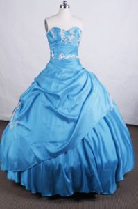 Blue Sweetheart Appliques with Beading Quinceanera Dress in Arequipa Peru