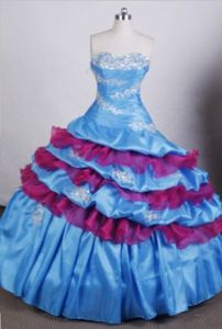 Appliques and Beading Sweetheart Blue Quinceanera Dress in Teresina Brazil