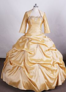Gold Appliques Sweetheart Pick-ups Quinceanera Dress in Poza Rica Mexico