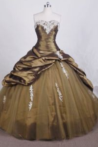 Sweetheart Appliques Brown Tulle Quinceanera Dresses in Texcoco Mexico