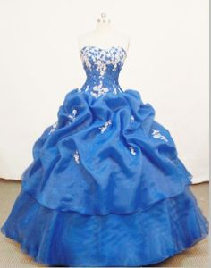 Sweetheart Appliques and Ruffles Blue Quinceanera Dress in Natal Brazil