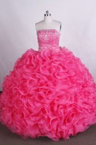 Red Strapless Ruffles Quinceanera Dress with Beading in Campinas Brazil