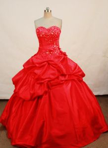 Sweetheart Appliques and Pick-ups Red Quinceanera Dress in Cancun Mexico