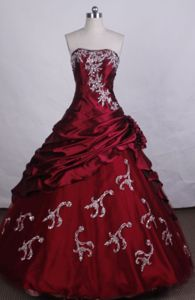 Beading and Appliques Strapless Red Quinceanera Dress in Navolato Mexico