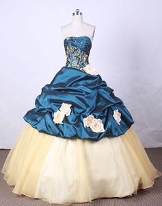 San Juan Argentina Strapless Blue Appliques and Beading Quinceanera Dress