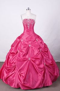 Hot Pink Strapless Appliques and Beading Quince Dress in Ensenada Mexico