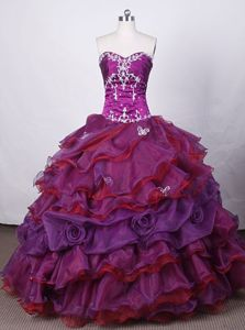 Appliques and Beading Strapless Purple Quinceanera Dress in Olinda Brazil