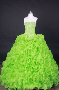 Vila Velha Brazil Spring Green Strapless Beading and Ruffles Quince Dress