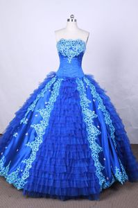 Appliques and Beading Strapless Blue Quinceanera Dress in Apodaca Mexico