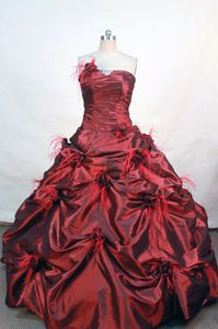 Pick-ups Strapless Wine Red Flower Quinceanera Dress in Durango Mexico