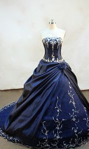 Strapless Chapel Appliques with Beading Quinceanera Dress in Navy Blue