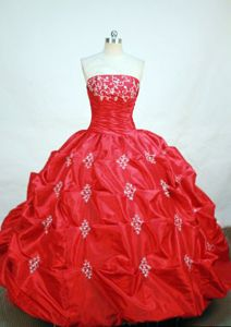 Appliques and Pick-ups Strapless Red Quinceanera Dress in Bermejo Bolivia