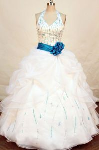 White Halter Beading Turquoise Sash Quinceanera Dress in Zacatecas Mexico
