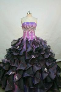 Strapless Appliques Quinceanera Dress with Rolling Flowers in Fuchsia