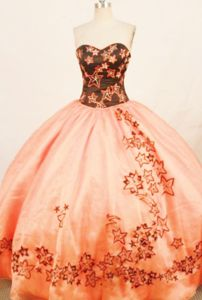 Star Appliques Sweetheart Rust Red Quinceanera Dress in Londrina Brazil