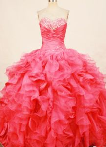 Ruffles Sweetheart Beaded Coral Red Quince Dress in Manzanillo Mexico