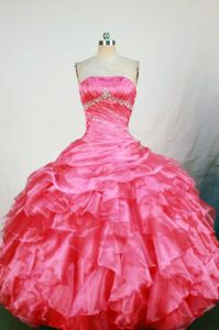 El Mante Mexico Hot Pink Strapless Beading Ruffled Layers Quince Dress