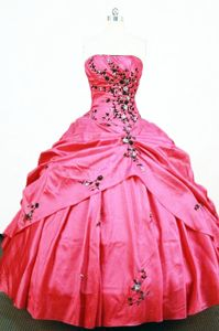 Hot Pink Strapless Appliques Pick-ups Quince Dresses in Colombo Brazil