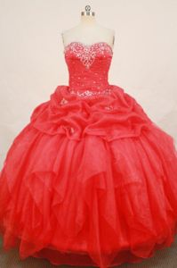 Appliques with Beading Sweetheart Red Quinceanera Dress in Lerma Mexico