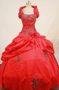 Embroidery Strapless Red Quinceanera Dress in San Pedro Cholula Mexico