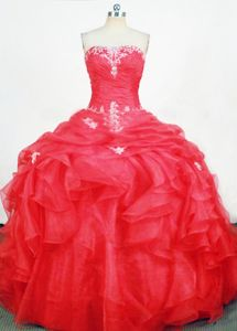 Strapless Quinceanera Dress in Sucre Bolivia with Appliques and Ruffles