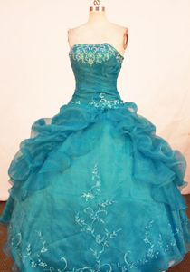 Teal Strapless Ruffles Quince Dress in Morelia Mexico with Embroidery