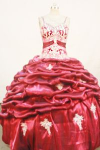 Appliques with Beading Strap Red Quinceanera Dress in Salta Argentina
