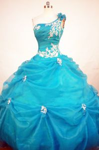 One Shoulder Aqua Blue Quinceanera Dress Appliques in Santa Fe Argentina