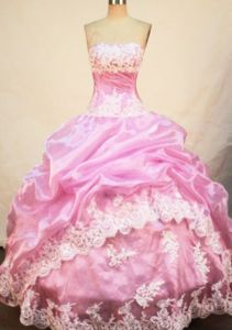 Strapless Quinceanera Dress in Oaxaca Mexico with Appliques and Pick-ups