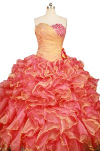 Orange Red Sweetheart Beading Ruffles Quinceanera Dress in Guasave Mexico
