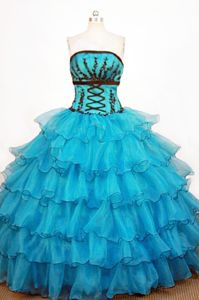 Strapless Teal Organza Ruffles Quinceanera Dresses in Mendoza Argentina