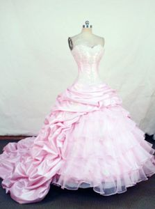 Pink Pick-ups Sweetheart Chapel Train Quinceanera Dress in Viacha Bolivia