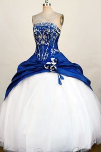 Nuevo Laredo Mexico Strapless Blue Beading and Appliques Quince Dress