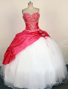 Sweetheart Red Beading and Appliques Quinceanera Dress in Montero Bolivia